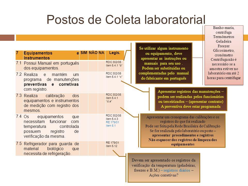 Postos de Coleta laboratorial 7Equipamentos e Instrumentos SIMNÃONALegis. 7.1Possui Manual em português dos equipamentos. RDC 302/05 item 5.4.1 b 7.2R