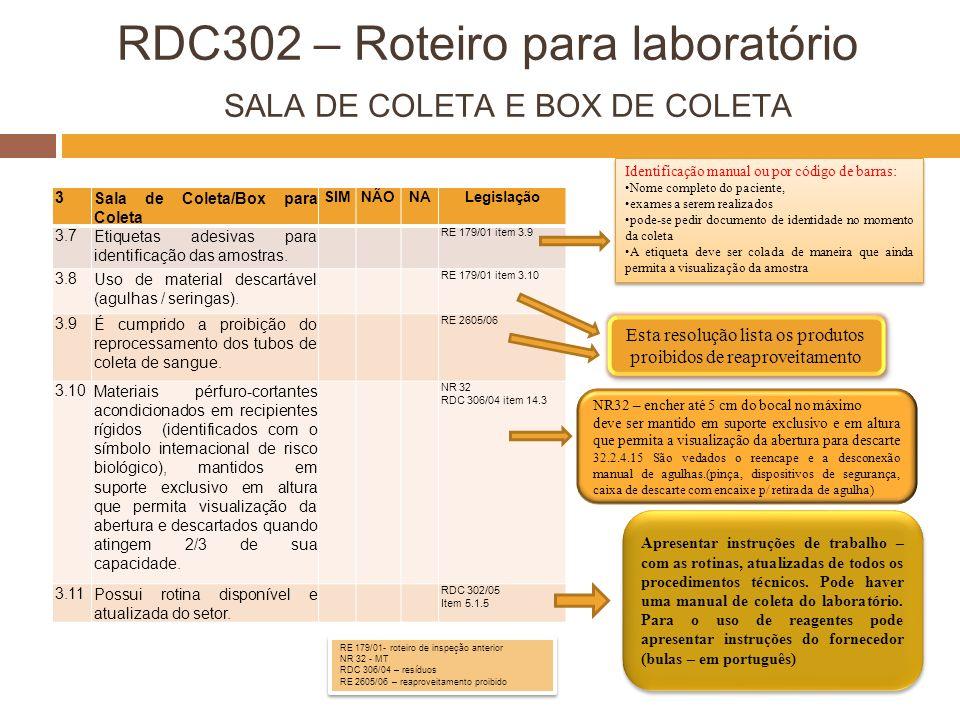 RDC302 – Roteiro para laboratório SALA DE COLETA E BOX DE COLETA 3Sala de Coleta/Box para Coleta SIMNÃONALegislação 3.7Etiquetas adesivas para identif