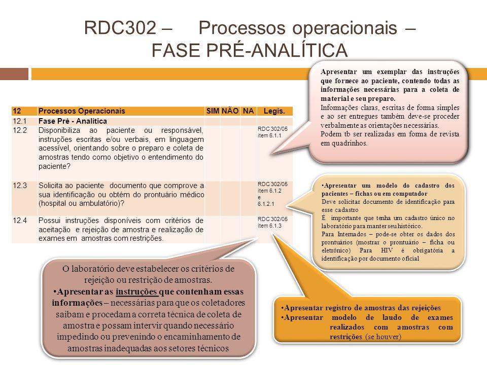 RDC302 – Processos operacionais – FASE PRÉ-ANALÍTICA 12Processos OperacionaisSIMNÃONALegis. 12.1Fase Pré - Analítica 12.2Disponibiliza ao paciente ou