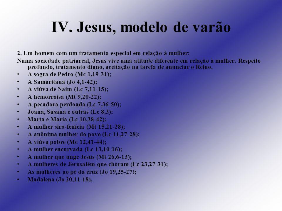 IV. Jesus, modelo de varão 2. Um homem com um tratamento especial em relação à mulher: Numa sociedade patriarcal, Jesus vive uma atitude diferente em