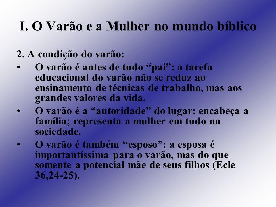 I. O Varão e a Mulher no mundo bíblico 2. A condição do varão: O varão é antes de tudo pai: a tarefa educacional do varão não se reduz ao ensinamento