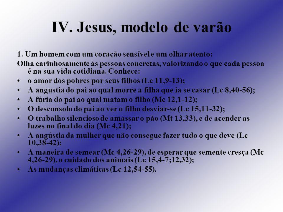IV. Jesus, modelo de varão 1. Um homem com um coração sensível e um olhar atento: Olha carinhosamente às pessoas concretas, valorizando o que cada pes