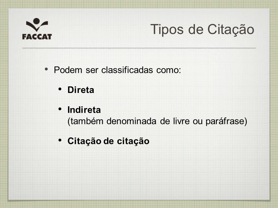 Tipos de Citação Podem ser classificadas como: Direta Indireta (também denominada de livre ou paráfrase) Citação de citação