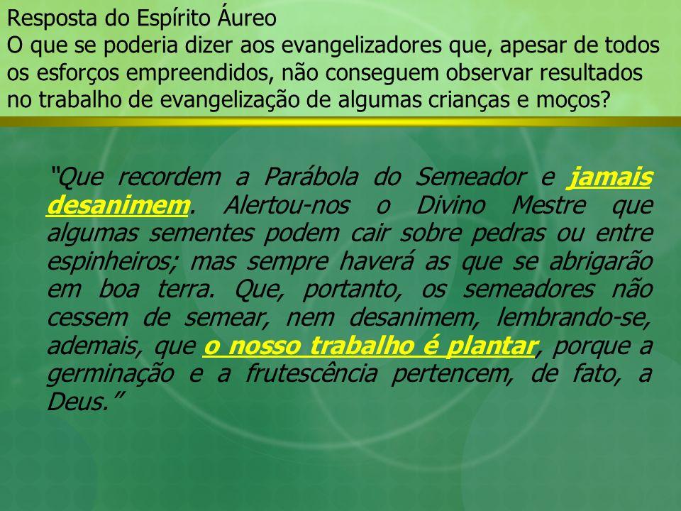 Resposta do Espírito Áureo O que se poderia dizer aos evangelizadores que, apesar de todos os esforços empreendidos, não conseguem observar resultados