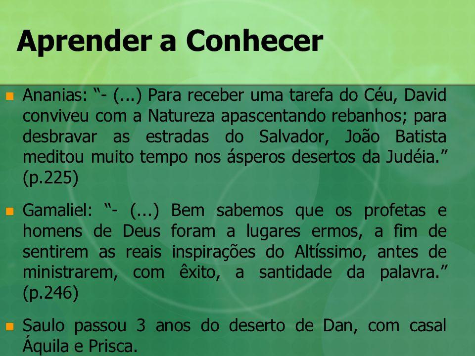 Aprender a Conhecer Ananias: - (...) Para receber uma tarefa do Céu, David conviveu com a Natureza apascentando rebanhos; para desbravar as estradas d