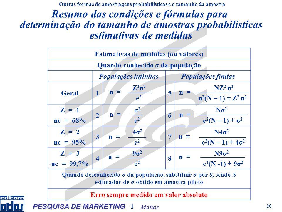 Mattar PESQUISA DE MARKETING 1 20 Resumo das condições e fórmulas para determinação do tamanho de amostras probabilísticas estimativas de medidas Estimativas de medidas (ou valores) Quando conhecido σ da população Populações infinitasPopulações finitas Geral1 Z 2 σ 2 e 2 5 NZ 2 σ 2 n 2 (N – 1) + Z 2 σ 2 Z = 1 nc = 68% 2 σ 2 e 2 6 Nσ 2 e 2 (N – 1) + σ 2 Z = 2 nc = 95% 3 4σ 2 e 2 7 N4σ 2 e 2 (N – 1) + 4σ 2 Z = 3 nc = 99,7% 4 9σ 2 e 2 8 N9σ 2 e 2 (N -1) + 9σ 2 Quando desconhecido σ da população, substituir σ por S, sendo S estimador de σ obtido em amostra piloto Erro sempre medido em valor absoluto Outras formas de amostragens probabilísticas e o tamanho da amostra n =