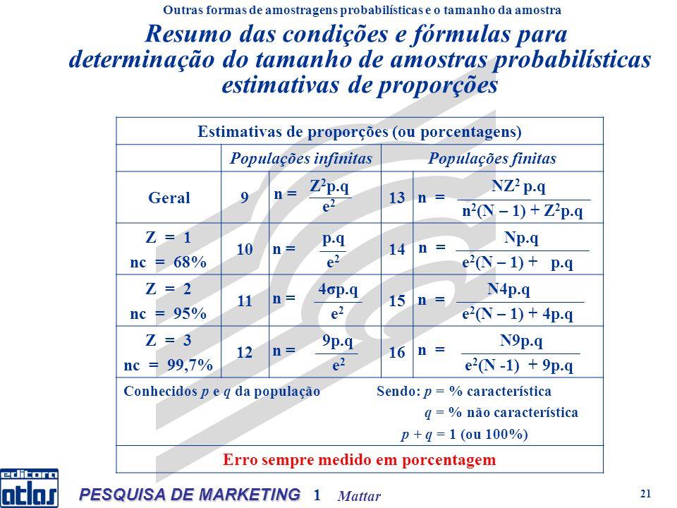 Mattar PESQUISA DE MARKETING 1 21 Resumo das condições e fórmulas para determinação do tamanho de amostras probabilísticas estimativas de proporções Estimativas de proporções (ou porcentagens) Populações infinitasPopulações finitas Geral9 Z 2 p.q e 2 13 NZ 2 p.q n 2 (N – 1) + Z 2 p.q Z = 1 nc = 68% 10 p.q e 2 14 Np.q e 2 (N – 1) + p.q Z = 2 nc = 95% 11 4σp.q e 2 15 N4p.q e 2 (N – 1) + 4p.q Z = 3 nc = 99,7% 12 9p.q e 2 16 N9p.q e 2 (N -1) + 9p.q Conhecidos p e q da população Sendo: p = % característica q = % não característica p + q = 1 (ou 100%) Erro sempre medido em porcentagem Outras formas de amostragens probabilísticas e o tamanho da amostra n =