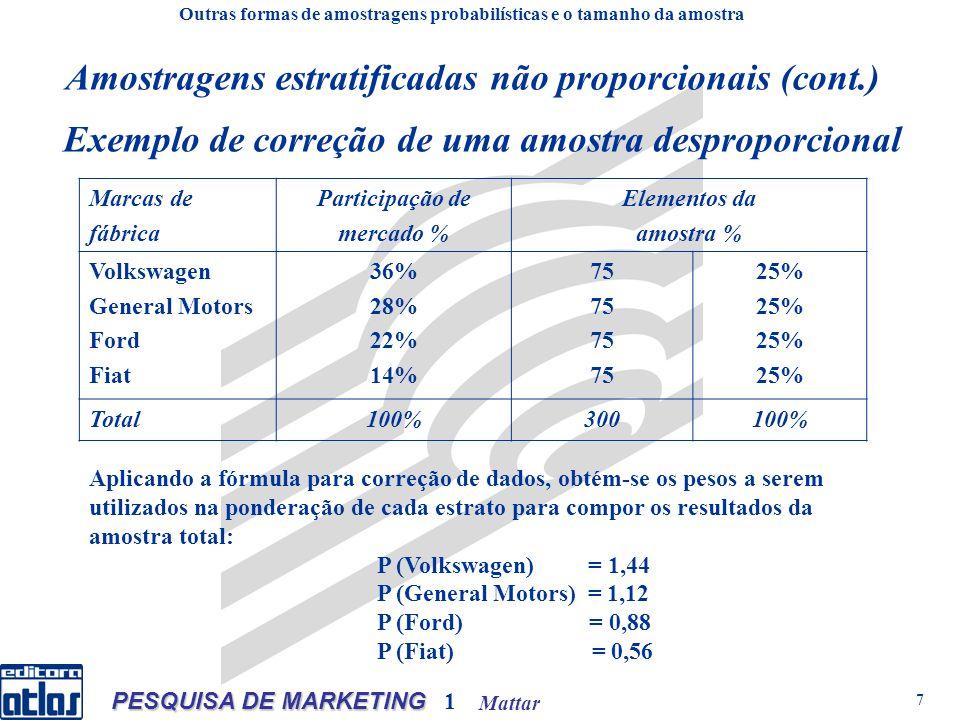 Mattar PESQUISA DE MARKETING 1 7 Exemplo de correção de uma amostra desproporcional Marcas de fábrica Participação de mercado % Elementos da amostra %