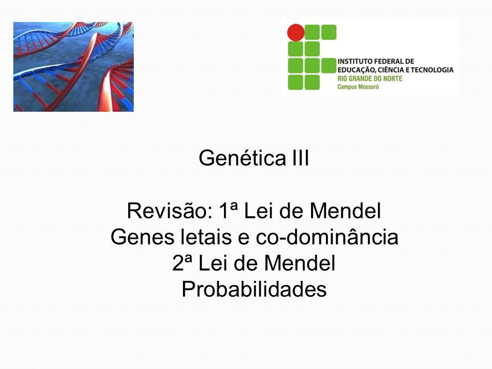Genética III Revisão: 1ª Lei de Mendel Genes letais e co-dominância 2ª Lei de Mendel Probabilidades