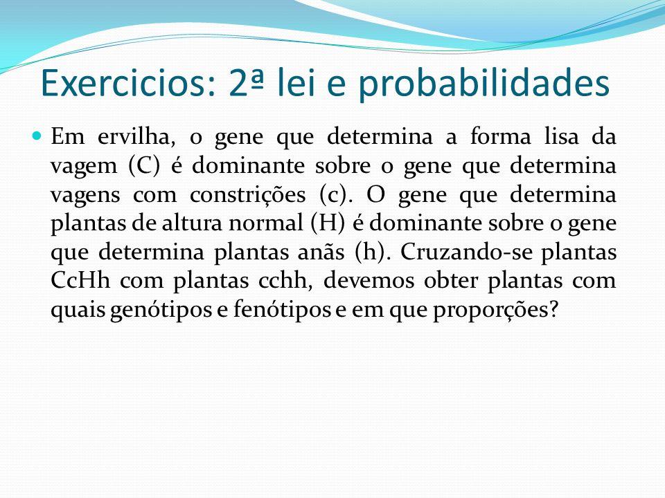 Exercicios: 2ª lei e probabilidades Em ervilha, o gene que determina a forma lisa da vagem (C) é dominante sobre o gene que determina vagens com const