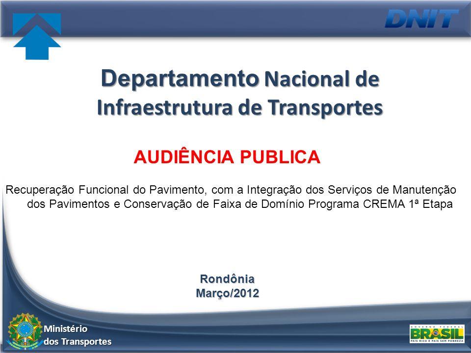 Departamento Nacional de Infraestrutura de Transportes Recuperação Funcional do Pavimento, com a Integração dos Serviços de Manutenção dos Pavimentos