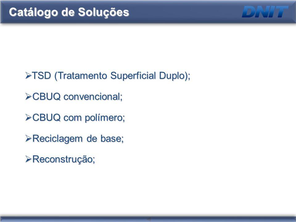 Catálogo de Soluções TSD (Tratamento Superficial Duplo); TSD (Tratamento Superficial Duplo); CBUQ convencional; CBUQ convencional; CBUQ com polímero;