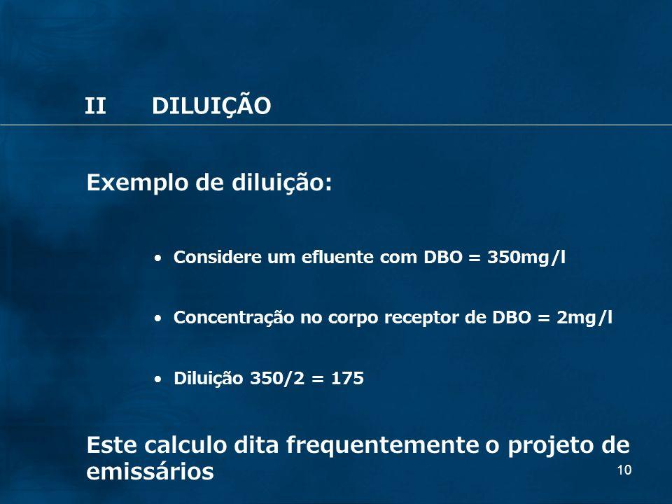 10 Exemplo de diluição: Considere um efluente com DBO = 350mg/l Concentração no corpo receptor de DBO = 2mg/l Diluição 350/2 = 175 Este calculo dita f