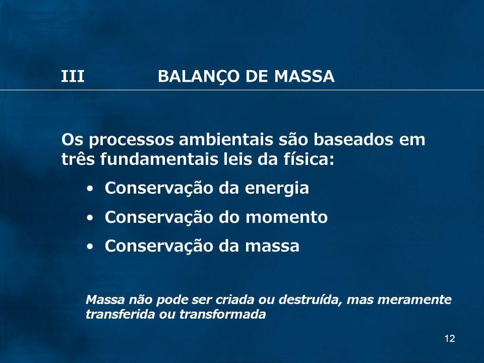 12 Os processos ambientais são baseados em três fundamentais leis da física: Conservação da energia Conservação do momento Conservação da massa Massa