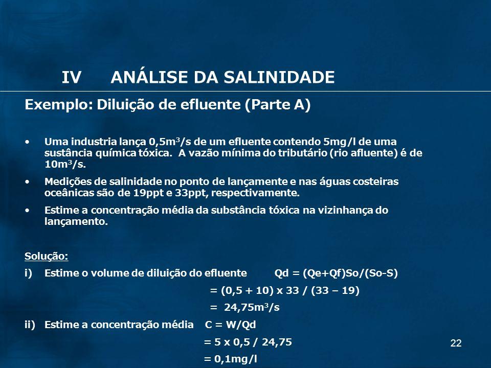 22 Exemplo: Diluição de efluente (Parte A) Uma industria lança 0,5m 3 /s de um efluente contendo 5mg/l de uma sustância química tóxica. A vazão mínima