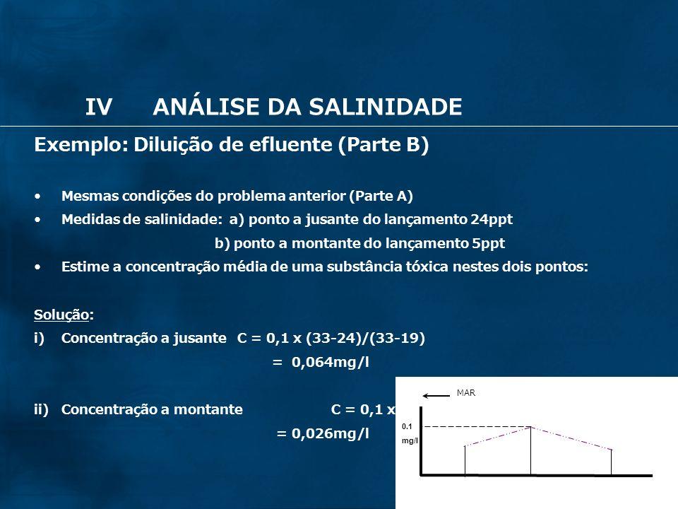 25 Exemplo: Diluição de efluente (Parte B) Mesmas condições do problema anterior (Parte A) Medidas de salinidade: a) ponto a jusante do lançamento 24p