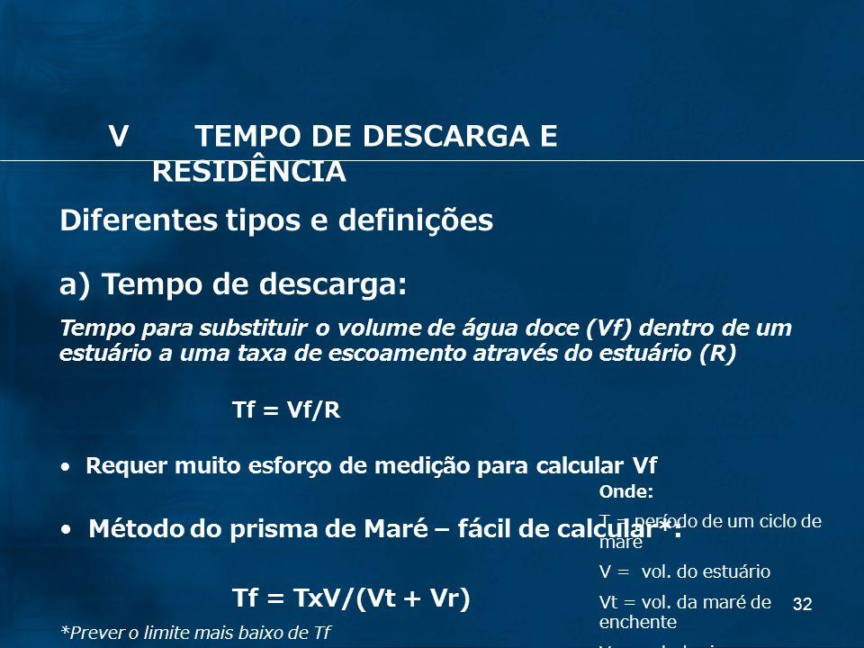 32 Diferentes tipos e definições a) Tempo de descarga: Tempo para substituir o volume de água doce (Vf) dentro de um estuário a uma taxa de escoamento