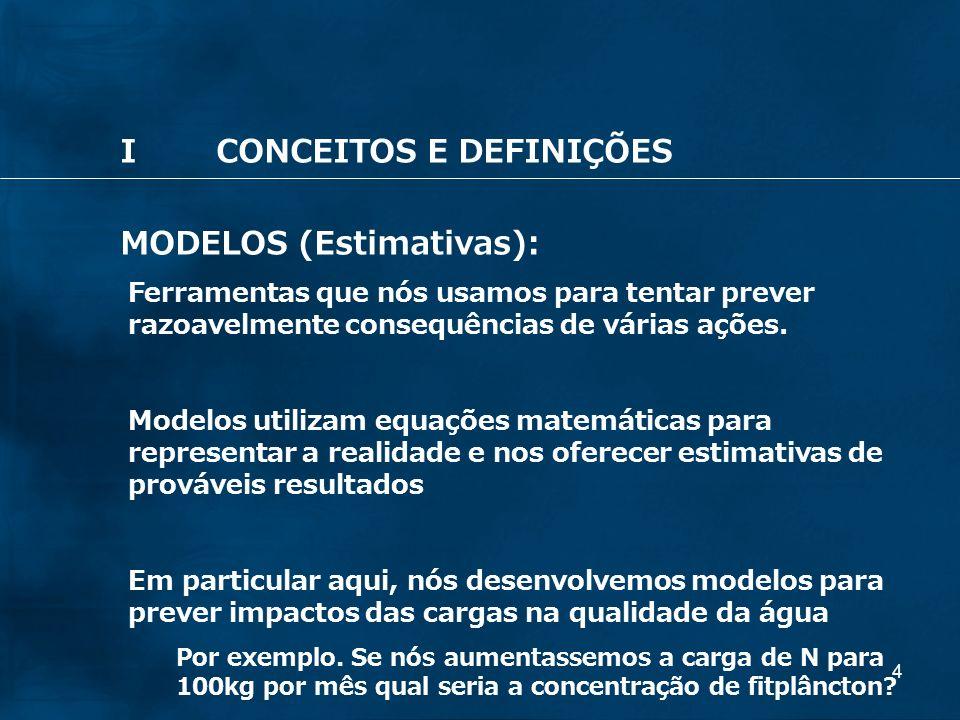 4 ICONCEITOS E DEFINIÇÕES MODELOS (Estimativas): Ferramentas que nós usamos para tentar prever razoavelmente consequências de várias ações. Modelos ut