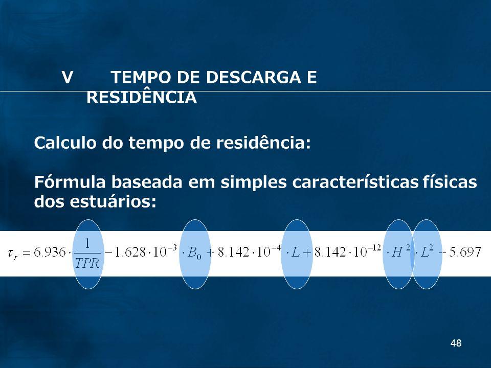 48 Calculo do tempo de residência: Fórmula baseada em simples características físicas dos estuários: VTEMPO DE DESCARGA E RESIDÊNCIA