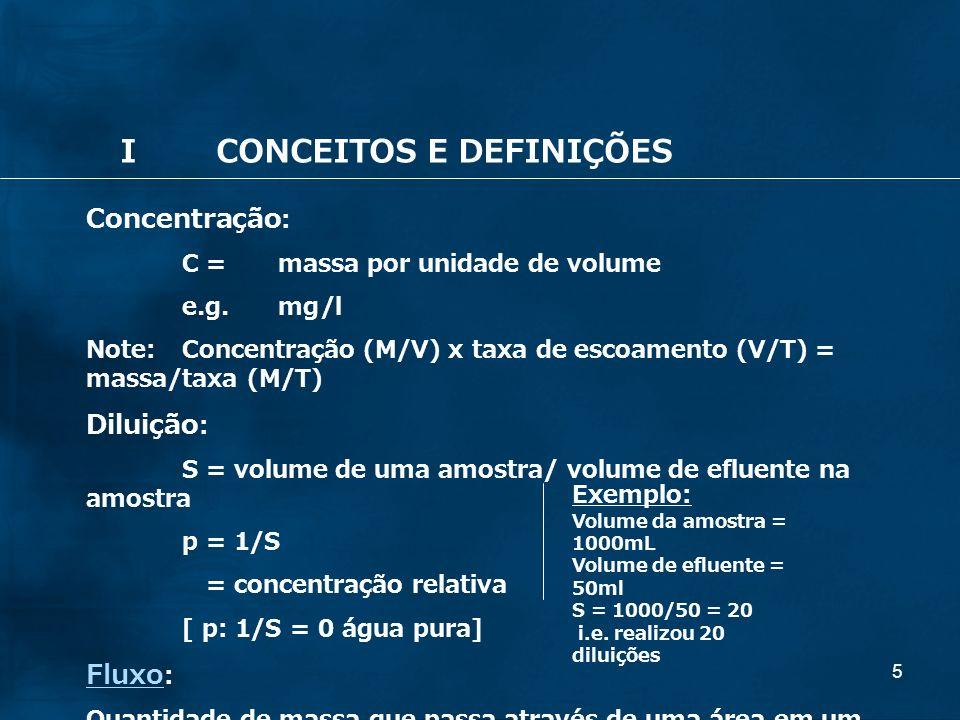 5 Concentração : C = massa por unidade de volume e.g. mg/l Note: Concentração (M/V) x taxa de escoamento (V/T) = massa/taxa (M/T) Diluição : S = volum