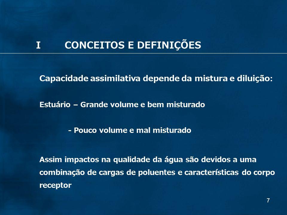 7 Capacidade assimilativa depende da mistura e diluição : Estuário – Grande volume e bem misturado - Pouco volume e mal misturado Assim impactos na qu