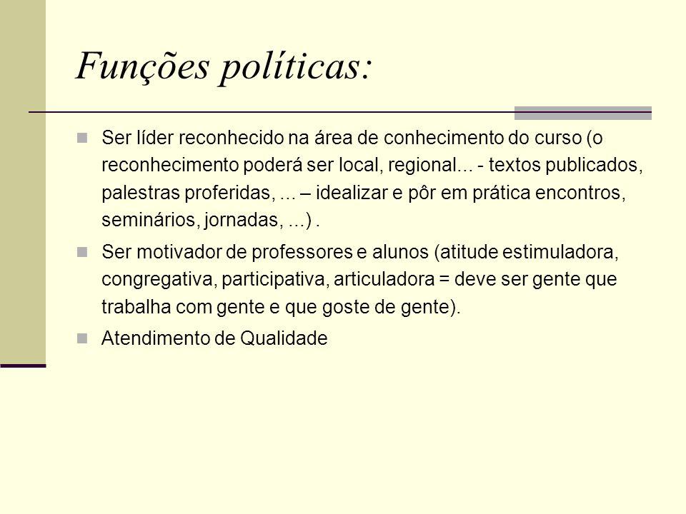 Funções políticas: Ser líder reconhecido na área de conhecimento do curso (o reconhecimento poderá ser local, regional... - textos publicados, palestr