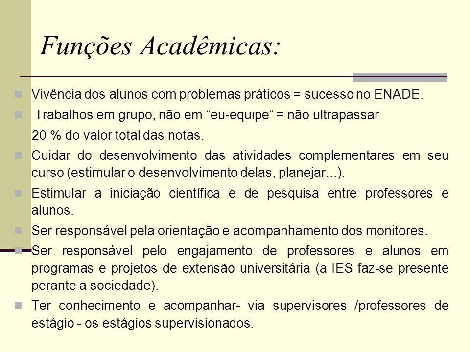 Funções Acadêmicas: Vivência dos alunos com problemas práticos = sucesso no ENADE. Trabalhos em grupo, não em eu-equipe = não ultrapassar 20 % do valo