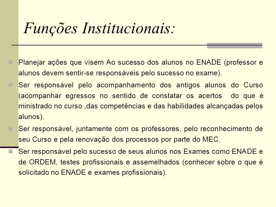 Funções Institucionais: Planejar ações que visem Ao sucesso dos alunos no ENADE (professor e alunos devem sentir-se responsáveis pelo sucesso no exame
