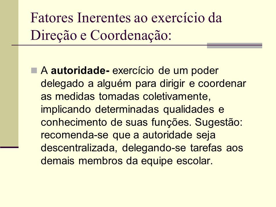 Fatores Inerentes ao exercício da Direção e Coordenação: A autoridade- exercício de um poder delegado a alguém para dirigir e coordenar as medidas tom