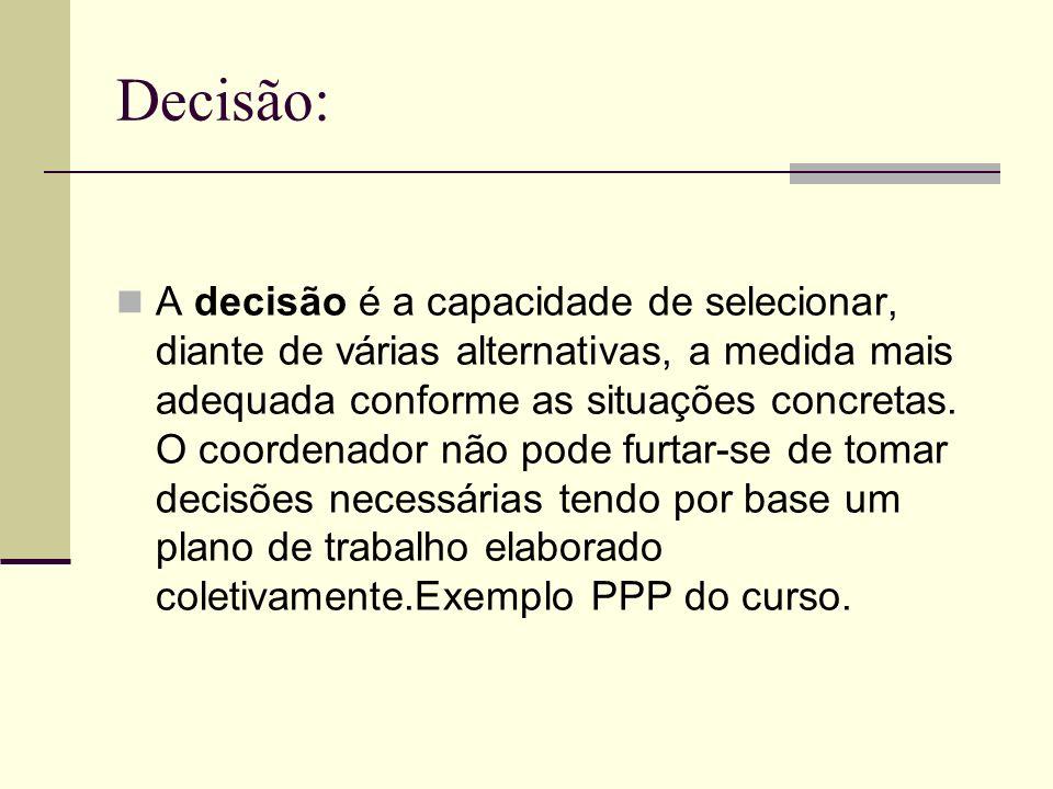 Decisão: A decisão é a capacidade de selecionar, diante de várias alternativas, a medida mais adequada conforme as situações concretas. O coordenador