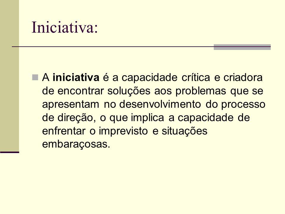 Iniciativa: A iniciativa é a capacidade crítica e criadora de encontrar soluções aos problemas que se apresentam no desenvolvimento do processo de dir