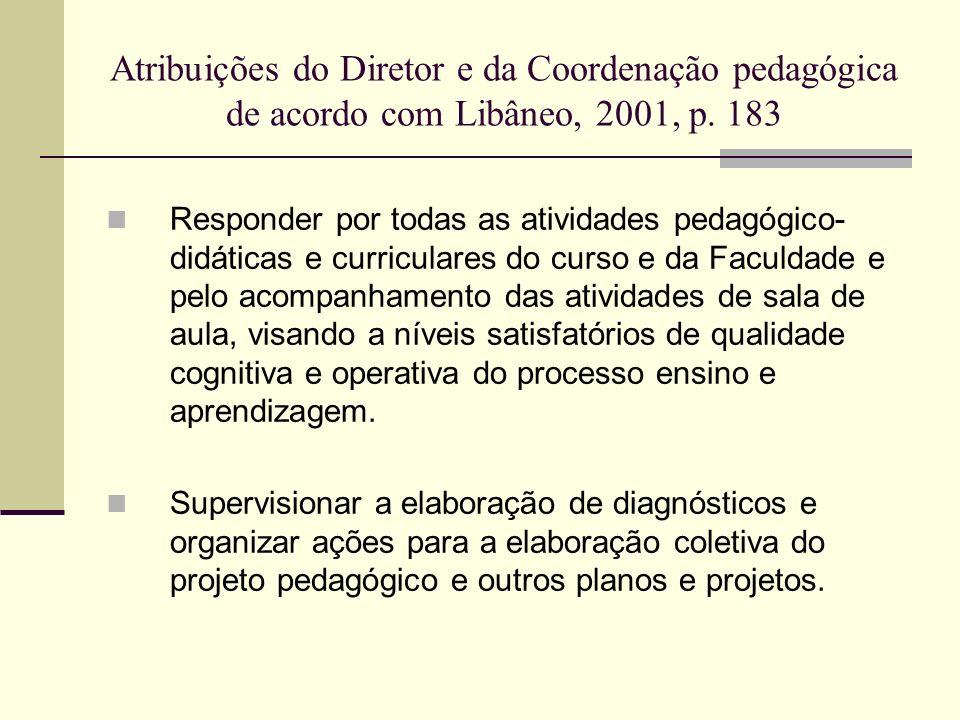 Atribuições do Diretor e da Coordenação pedagógica de acordo com Libâneo, 2001, p. 183 Responder por todas as atividades pedagógico- didáticas e curri