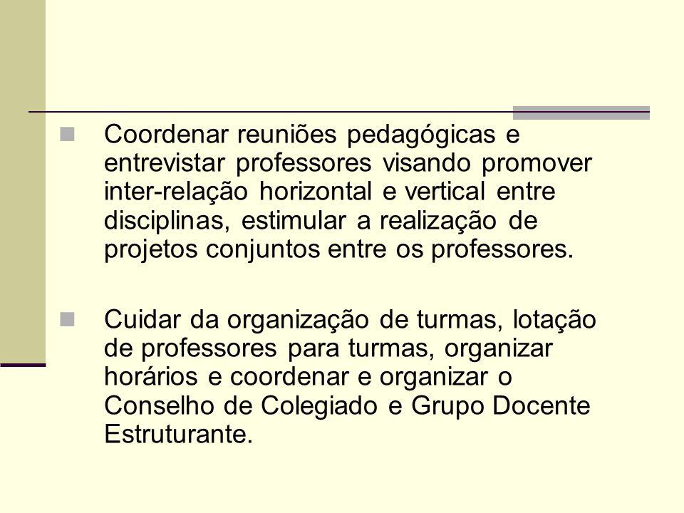 Coordenar reuniões pedagógicas e entrevistar professores visando promover inter-relação horizontal e vertical entre disciplinas, estimular a realizaçã