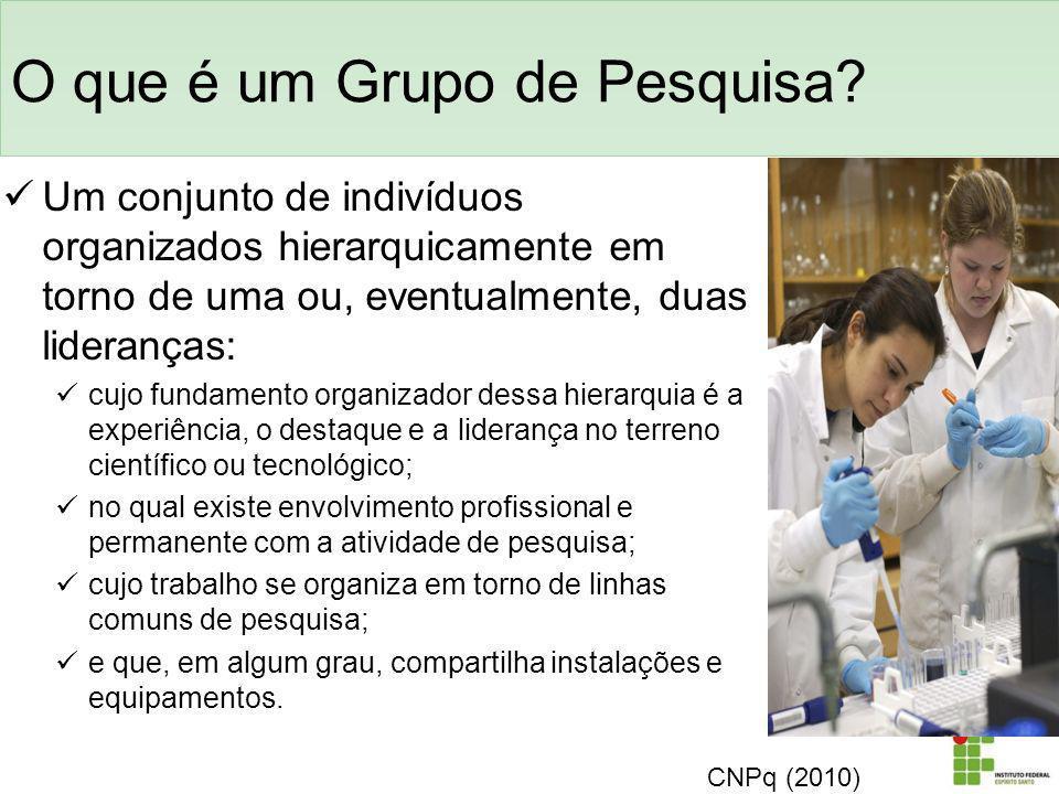 O que é um Grupo de Pesquisa? Um conjunto de indivíduos organizados hierarquicamente em torno de uma ou, eventualmente, duas lideranças: cujo fundamen