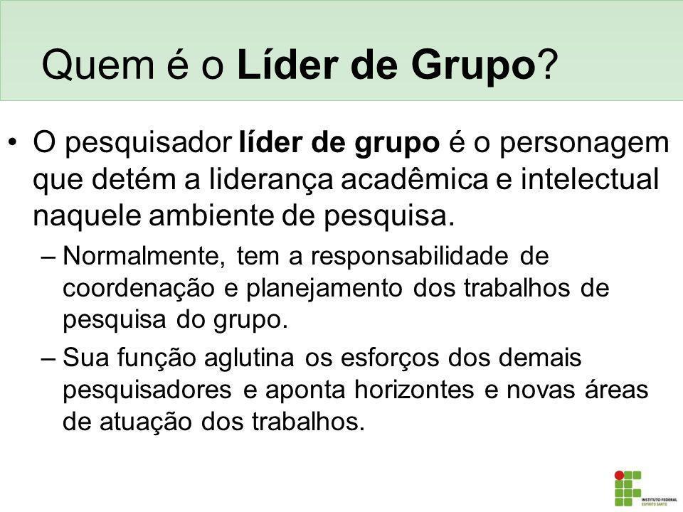 Quem é o Líder de Grupo? O pesquisador líder de grupo é o personagem que detém a liderança acadêmica e intelectual naquele ambiente de pesquisa. –Norm