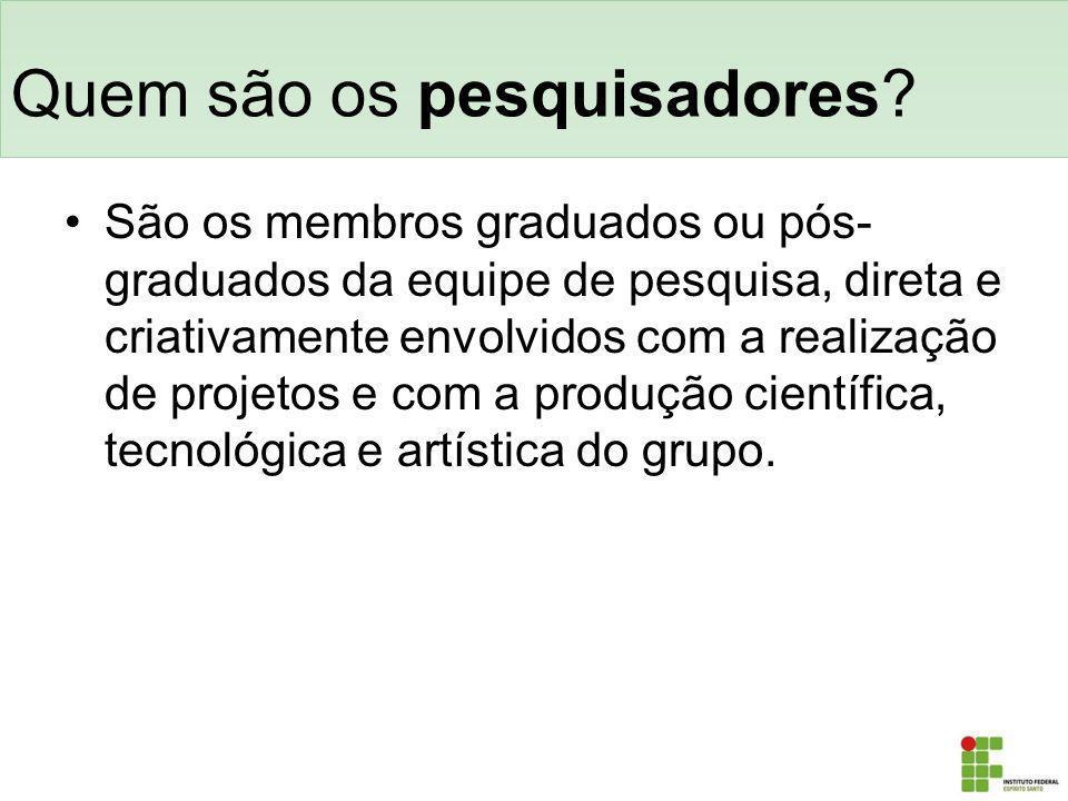 Quem são os pesquisadores? São os membros graduados ou pós- graduados da equipe de pesquisa, direta e criativamente envolvidos com a realização de pro
