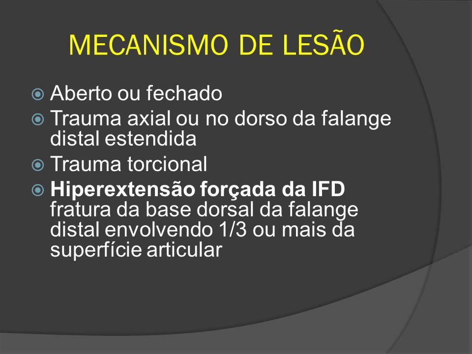 MECANISMO DE LESÃO Aberto ou fechado Trauma axial ou no dorso da falange distal estendida Trauma torcional Hiperextensão forçada da IFD fratura da bas