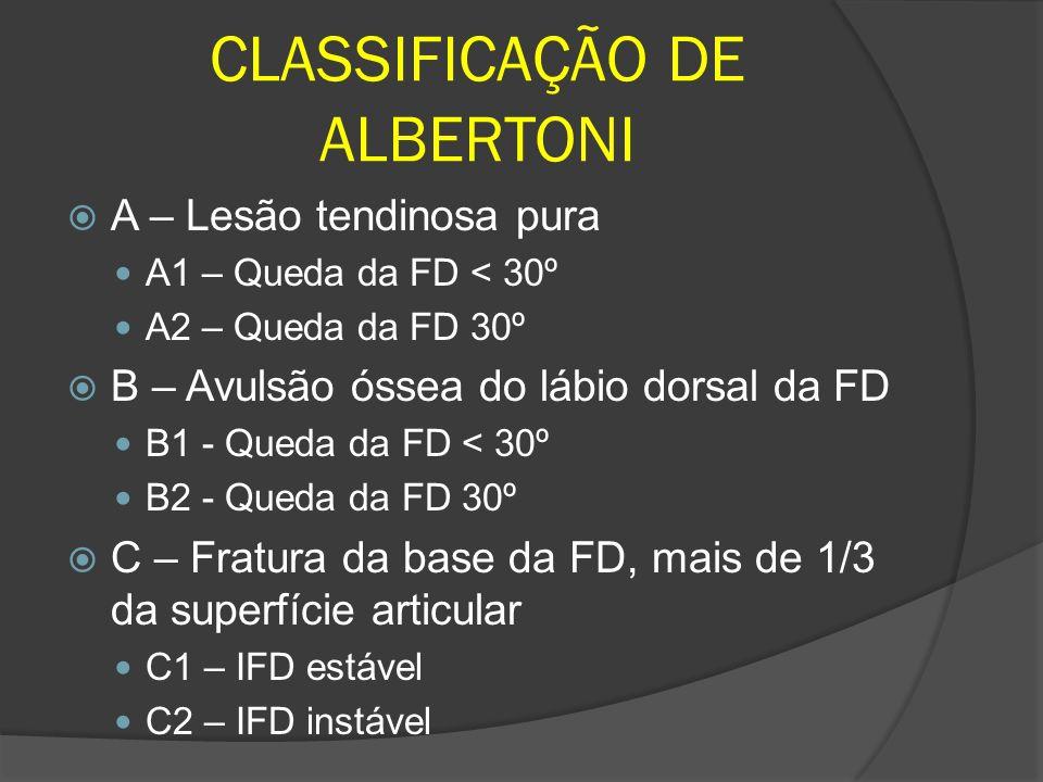 A – Lesão tendinosa pura A1 – Queda da FD < 30º A2 – Queda da FD 30º B – Avulsão óssea do lábio dorsal da FD B1 - Queda da FD < 30º B2 - Queda da FD 3