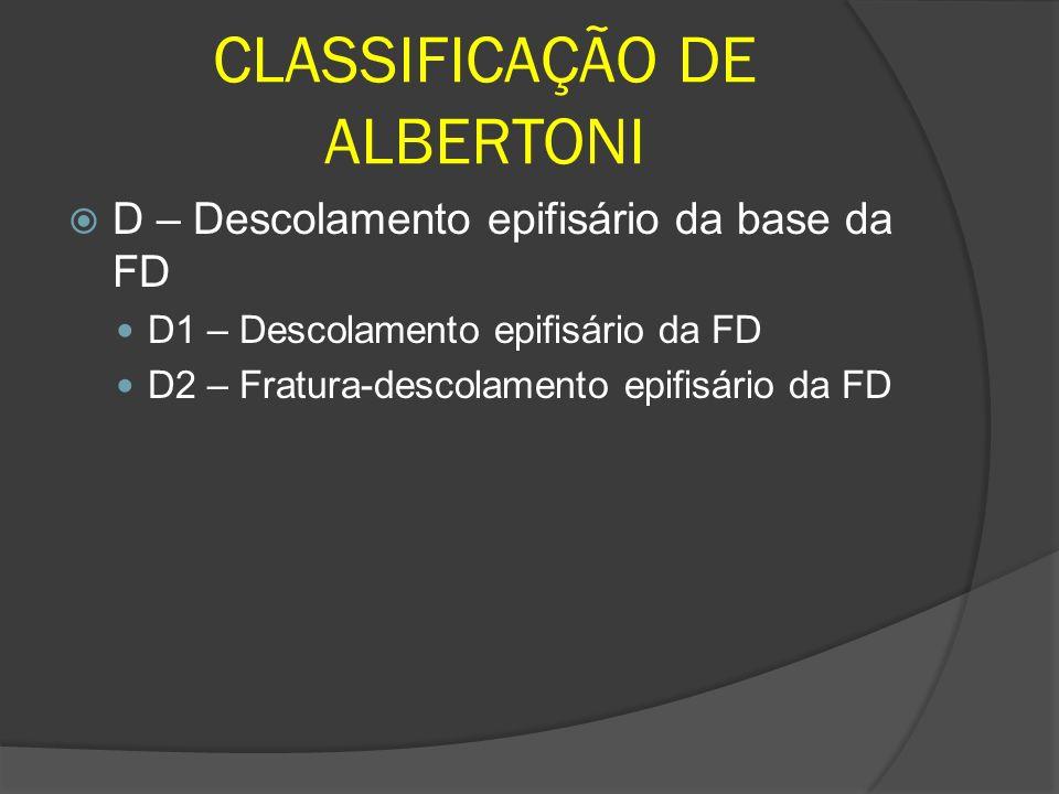 CLASSIFICAÇÃO DE ALBERTONI D – Descolamento epifisário da base da FD D1 – Descolamento epifisário da FD D2 – Fratura-descolamento epifisário da FD