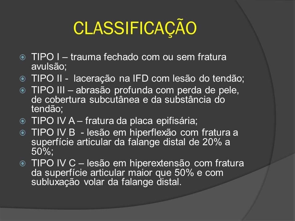 CLASSIFICAÇÃO TIPO I – trauma fechado com ou sem fratura avulsão; TIPO II - laceração na IFD com lesão do tendão; TIPO III – abrasão profunda com perd