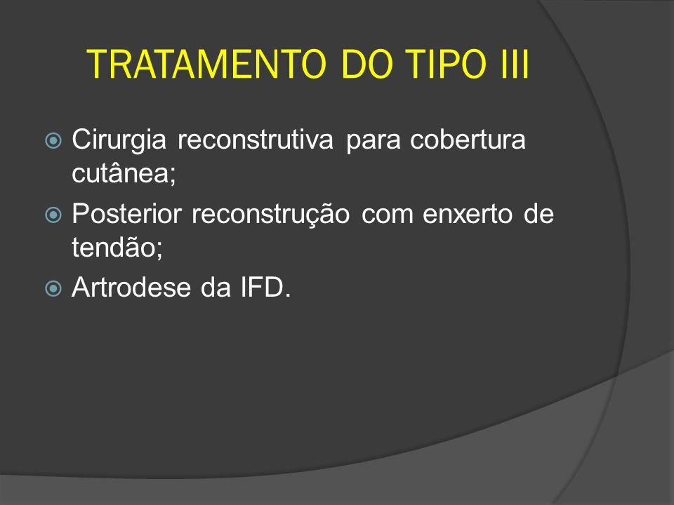 TRATAMENTO DO TIPO III Cirurgia reconstrutiva para cobertura cutânea; Posterior reconstrução com enxerto de tendão; Artrodese da IFD.