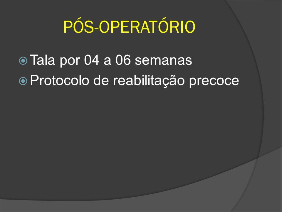PÓS-OPERATÓRIO Tala por 04 a 06 semanas Protocolo de reabilitação precoce