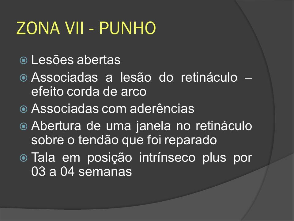 ZONA VII - PUNHO Lesões abertas Associadas a lesão do retináculo – efeito corda de arco Associadas com aderências Abertura de uma janela no retináculo