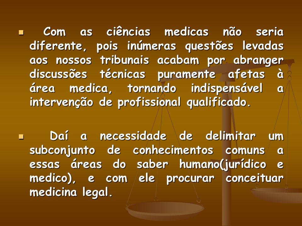 Doutrinariamente encontramos três correntes que procuram delimitar o campo de abrangência e conceituar medicina legal(Flamínio Fávero, Medicina legal:introduçao ao estudo da medicina legal, 1975, p.