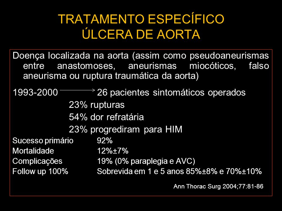 TRATAMENTO ESPECÍFICO ÚLCERA DE AORTA Doença localizada na aorta (assim como pseudoaneurismas entre anastomoses, aneurismas miocóticos, falso aneurism
