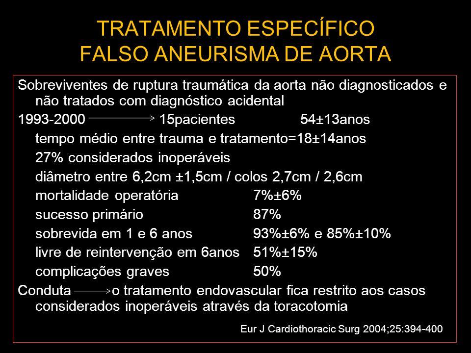 TRATAMENTO ESPECÍFICO FALSO ANEURISMA DE AORTA Sobreviventes de ruptura traumática da aorta não diagnosticados e não tratados com diagnóstico acidenta