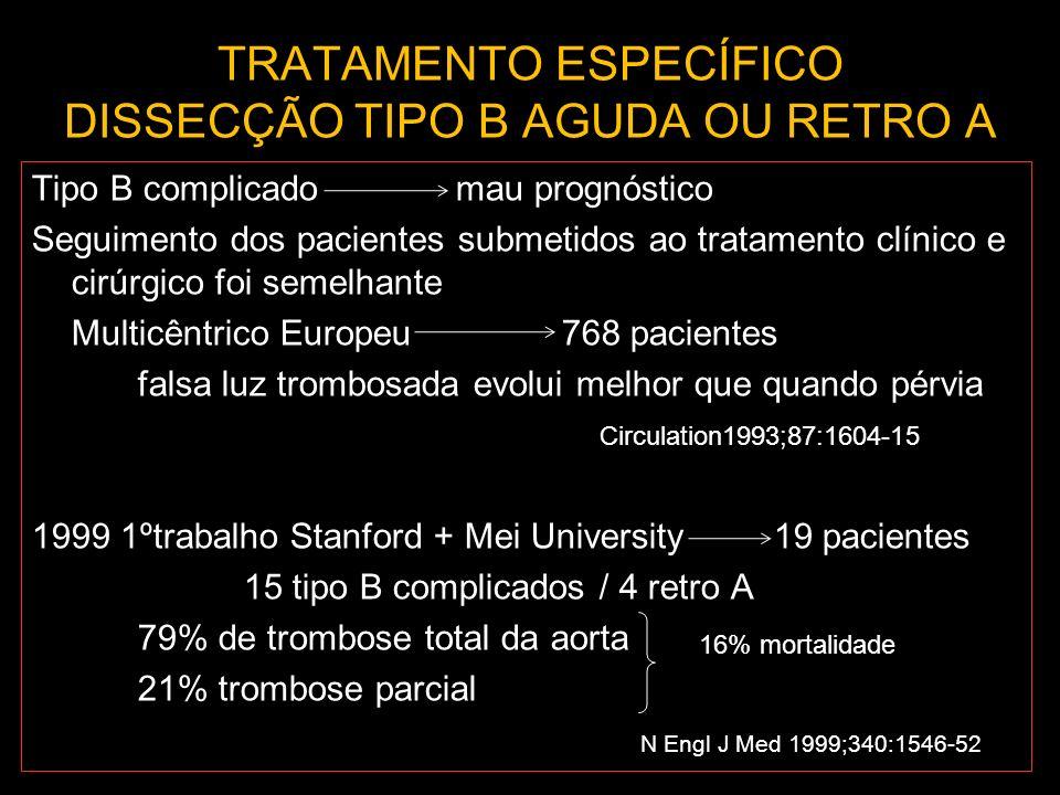 TRATAMENTO ESPECÍFICO DISSECÇÃO TIPO B AGUDA OU RETRO A Tipo B complicado mau prognóstico Seguimento dos pacientes submetidos ao tratamento clínico e