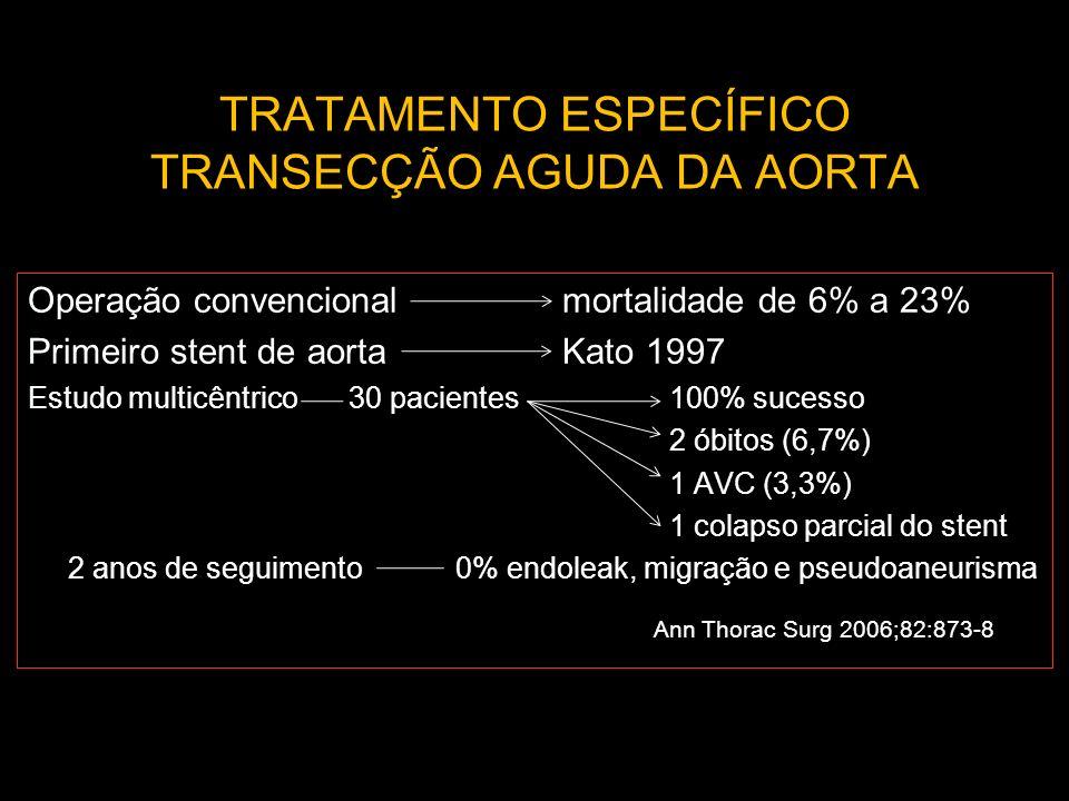 TRATAMENTO ESPECÍFICO TRANSECÇÃO AGUDA DA AORTA Operação convencionalmortalidade de 6% a 23% Primeiro stent de aortaKato 1997 Estudo multicêntrico30 p