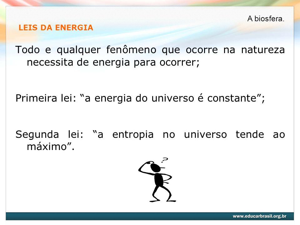 LEIS DA ENERGIA Todo e qualquer fenômeno que ocorre na natureza necessita de energia para ocorrer; Primeira lei: a energia do universo é constante; Se