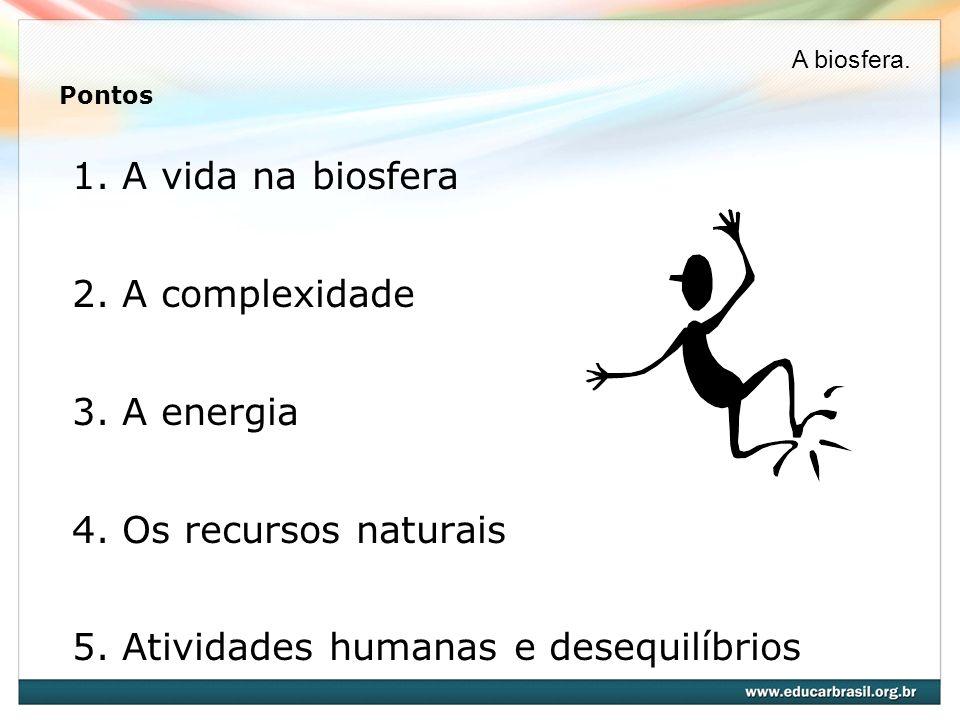 Pontos 1. A vida na biosfera 2. A complexidade 3. A energia 4. Os recursos naturais 5. Atividades humanas e desequilíbrios A biosfera.
